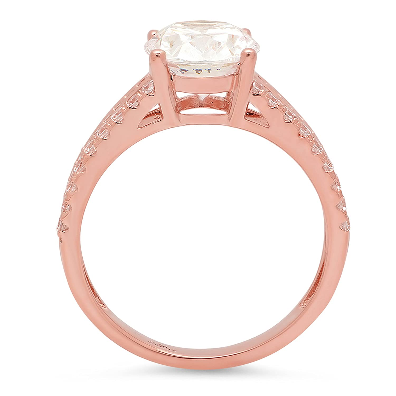 14k Solid Rose Gold 1.9ct Brilliant Oval Cut Engagement Wedding Promise Anniversary Ring Bridal Jewelry for Women