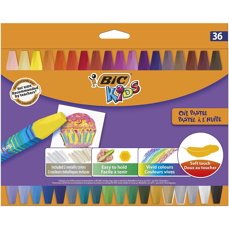 Couleurs Assorties BIC Kids Pastel /à lHuile Etui Carton de 36