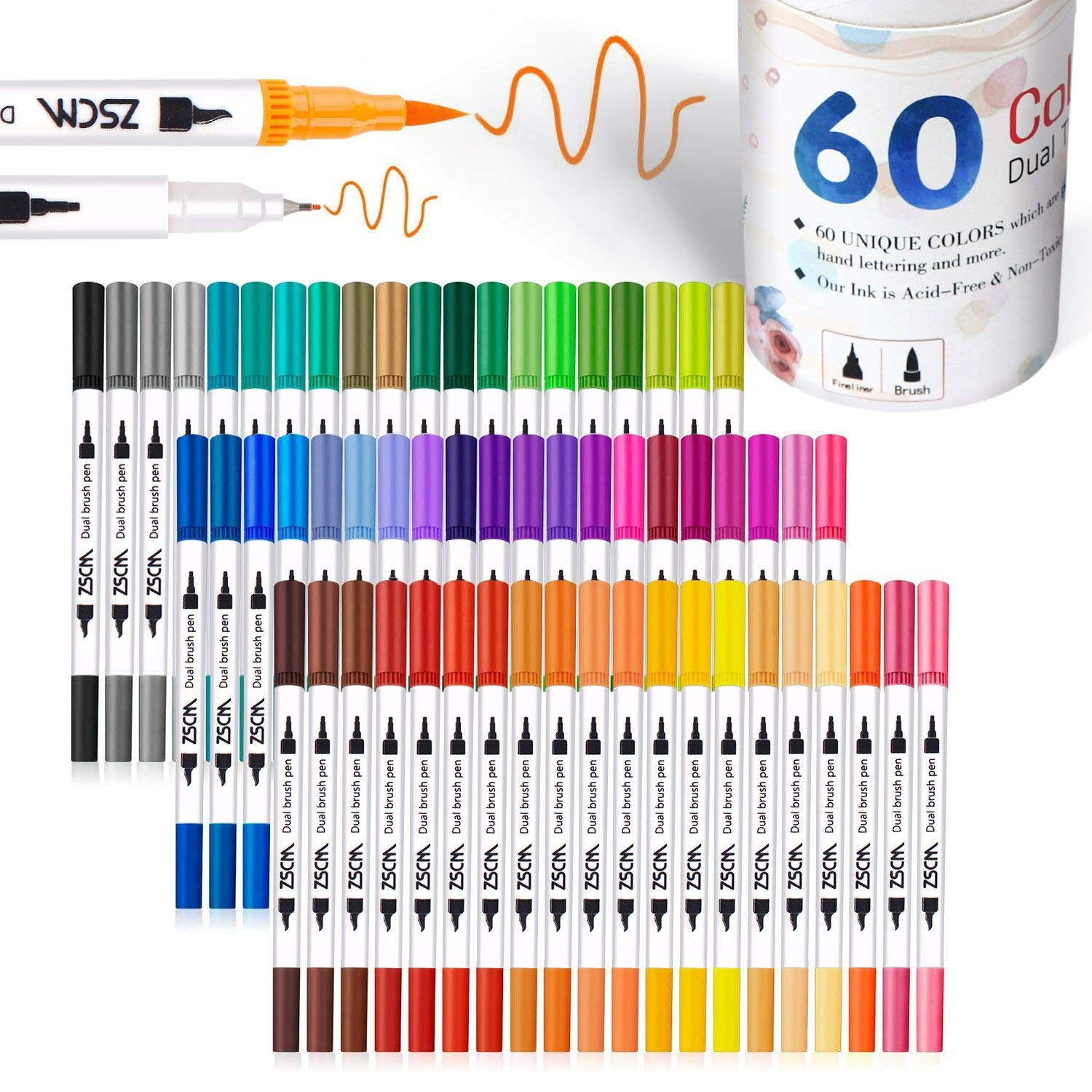ZSCM 60 Colors Dual Tip Brush Pens Art Markers Set, Fine and Brush Tip Colored Dual Pen for Kid Adult Coloring Book Drawing Bullet Journal Planner Calendar Art Projects by ZSCM QUALITY DECIDES THE FUTURE