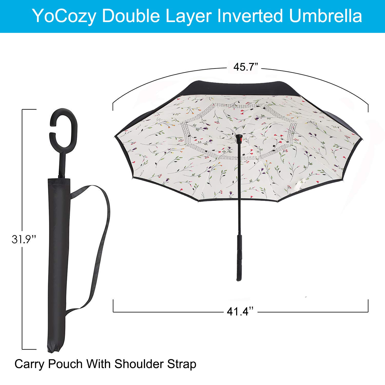 eca95b62ac8c YoCozy Inverted Umbrella Windproof Golf Reverse Umbrella Travel Sun Rain  Flower