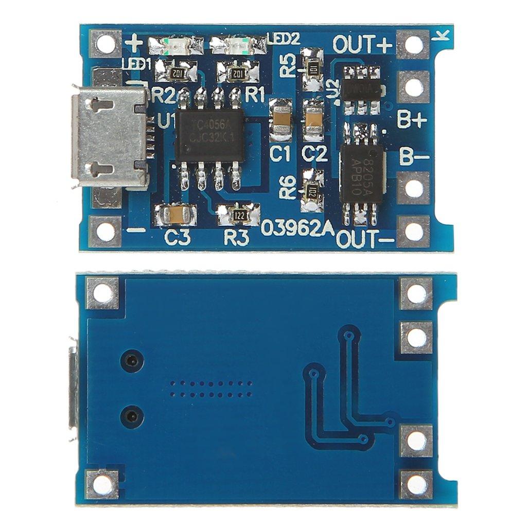 JENOR 5 V, 1 A, 2 A, m/ódulo micro USB Cargador de bater/ía de litio y placa de circuito 2 en 1