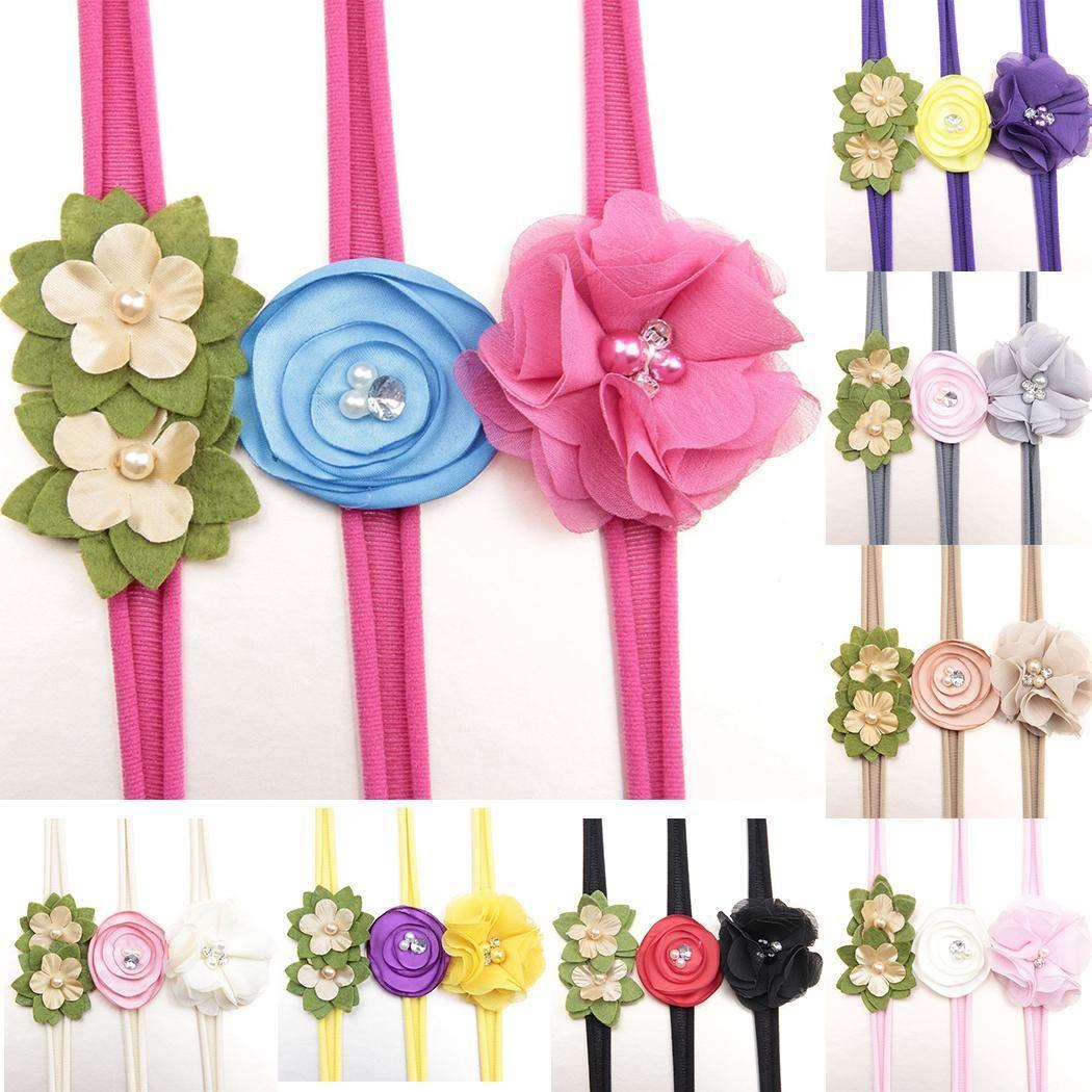 Xixini Casual Outdoor 3 Stück/satz Baby Mädchen Mode Floral Faux Perle Strass Elastische Stirnband Geschenk Haar Mithelfer