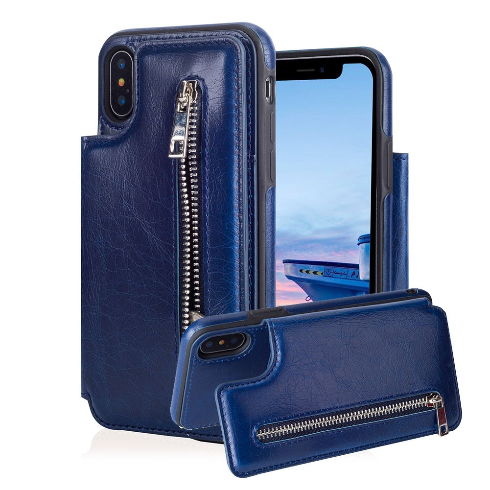 for iPhone XR Pocket Case,Aearl TPU Bumper Shell Back with Magnetic Button Closure Vintage PU Leather Cover Zipper Wallet Purse Card Holder Slot Kickstand Case for iPhone XR 6.1 inch 2018- Blue