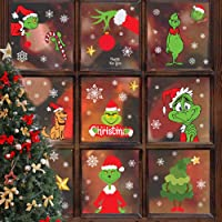Grinch Window Clings Christmas Snowflake Xmas Window Clings Decoration for Glass Winter Window Stickers Decals How the…