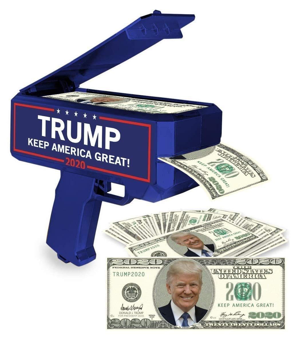 NinoStar Donald Trump Money Gun | Keep America Great 2020 Re-Election Cash Spray| Rain Money Shotter | Pack of 100 Presidential Dollar Bill + Free Bonus 2020 Car Air Fresh 71ywXeXyeuL