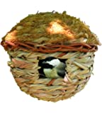 Songbird Essentials Hanging Birdhouse Roosting Pocket. Reed Grass and Cedar Roof. Winter Bird Refuge