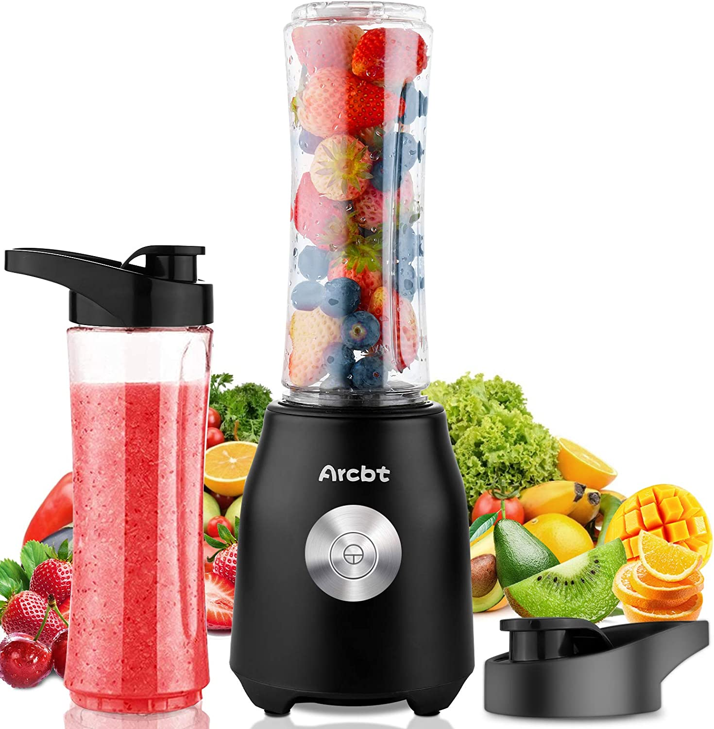 Arcbt Professional Smoothie Blender, 400W Countertop Blender with 2 x 20.3oz Tritan BPA-Free Travel Blender Bottles, Mini Single Serve Personal Blender for Shakes, Juice and Baby Food, Black