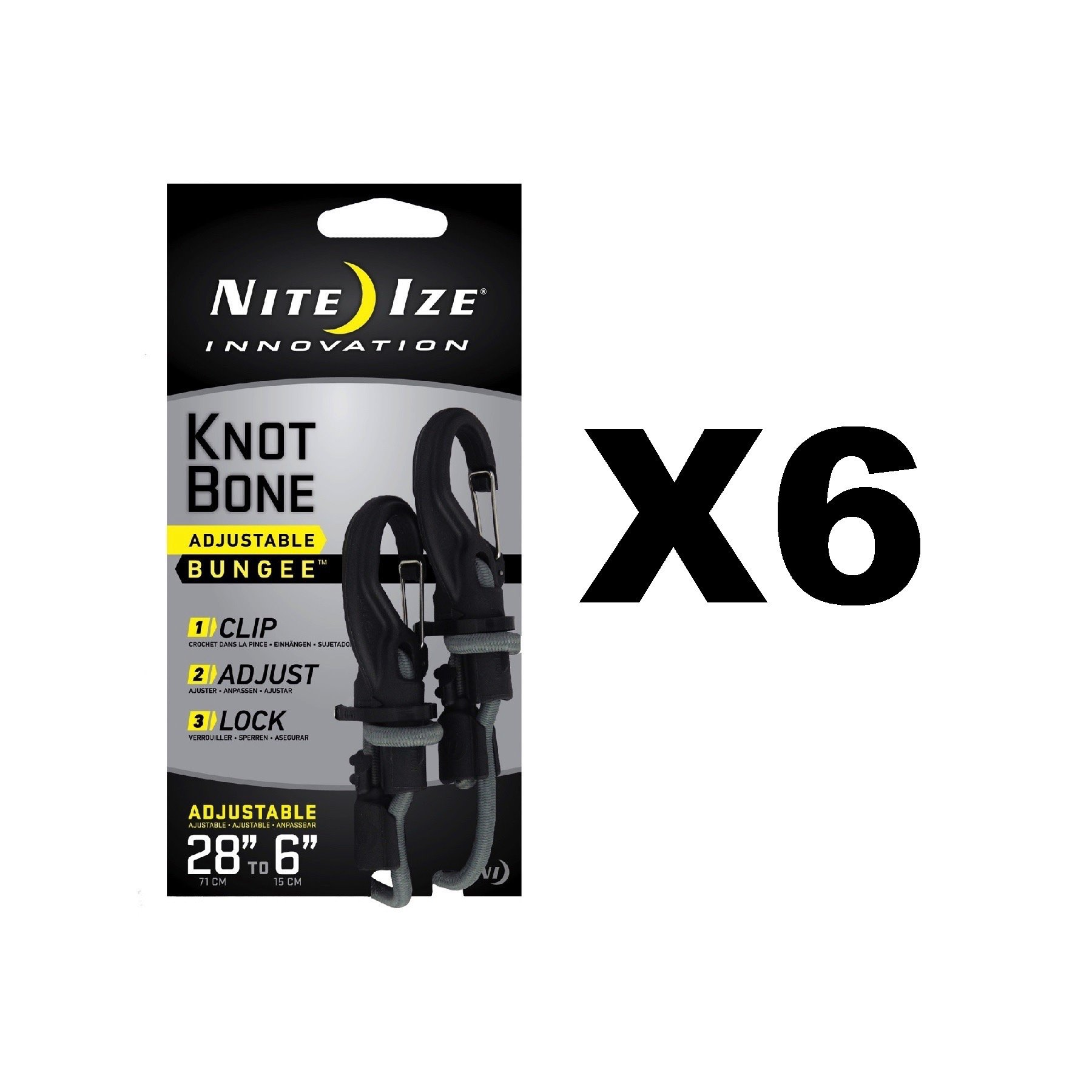 Nite Ize KnotBone Adjustable Bungee Small 5mm 6''-28'' w/ Carabiner Clip (6-Pack)