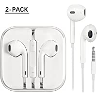 Generic Earphones 2 Pack,Earbuds, Stereo Headphones With Mic and Remote Control for apple iPhone 6s 6 Plus 5s 5 SE 5c iPod iPad (white)