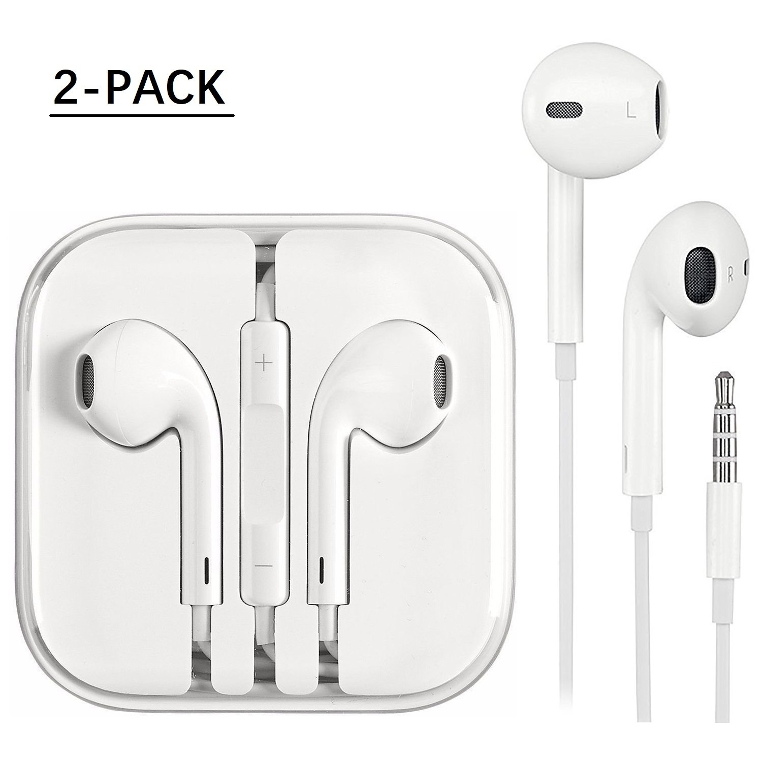 Maongo Earphones 2 Pack,Earbuds, Stereo Headphones With Mic and Remote Control for apple iPhone 6s 6 Plus 5s 5 SE 5c iPod iPad (white) by Maongo
