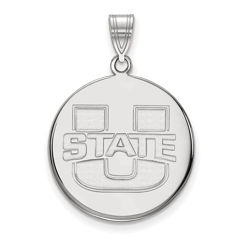 925 Sterling Silver Rhodium-plated Laser-cut Utah State University Large Disc Pendant