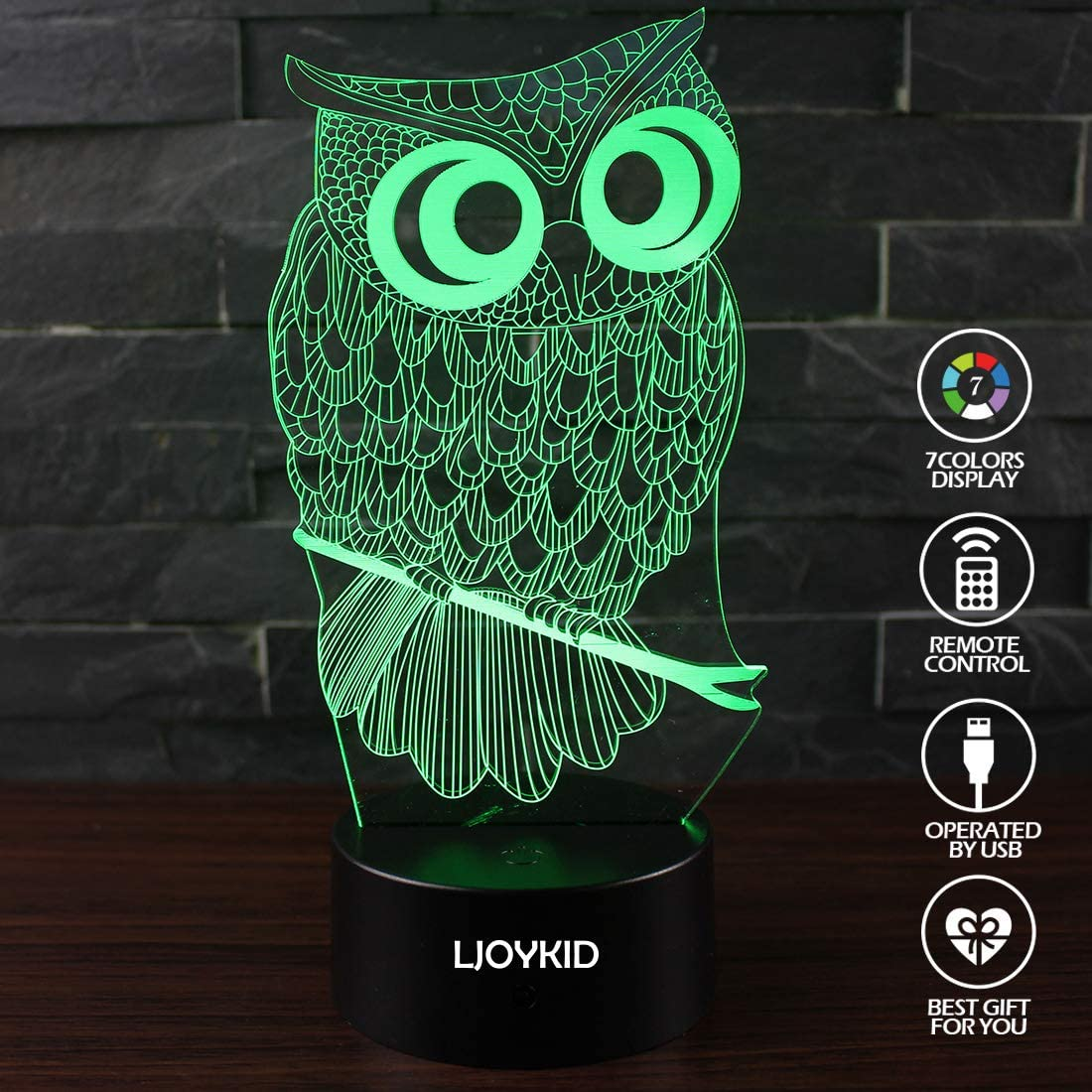 3D Led Night Light Lamps Butterfly2 Optical Illusion 7 Colors Touch Table Desk Visual Lamp with Remote Control for Gifts for Children Kids