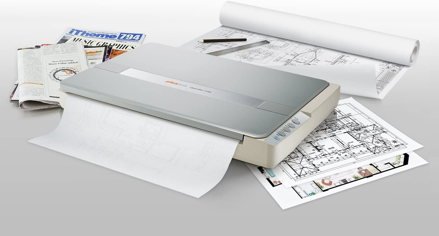 Plustek A3 Flatbed Scanner OS 1180 : 11.7x17 Large Format scan Size for Blueprints and Document. Design for Library, School and Soho. A3 scan for 9 sec, Support Mac and PC