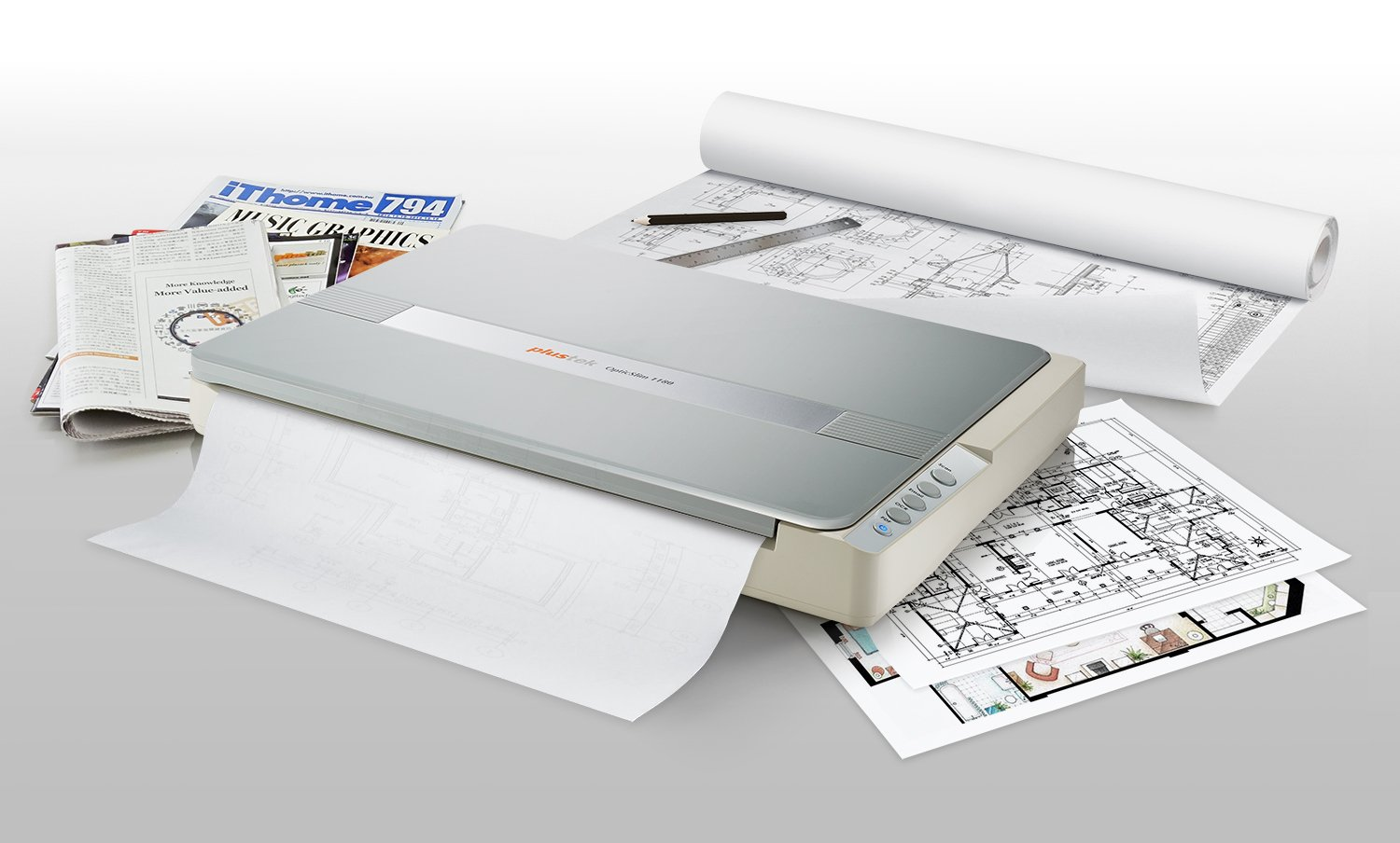Plustek A3 Flatbed Scanner OS 1180 : 11.7x17 Large Format scan Size for Blueprints and Document. Design for Library, School and Soho. A3 scan for 9 sec, Support Mac and PC by Plustek