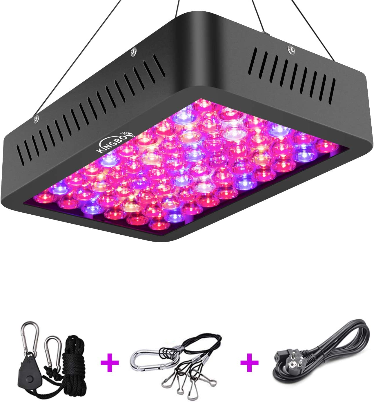 LED Plant Grow Lights, KINGBO 600W High Power Grow Lamp with Optical Lens, Double Chip Three Chip, 12-Band Full Spectrum Grow Light for Indoor Plants Veg and Flower Daisy Chain Function