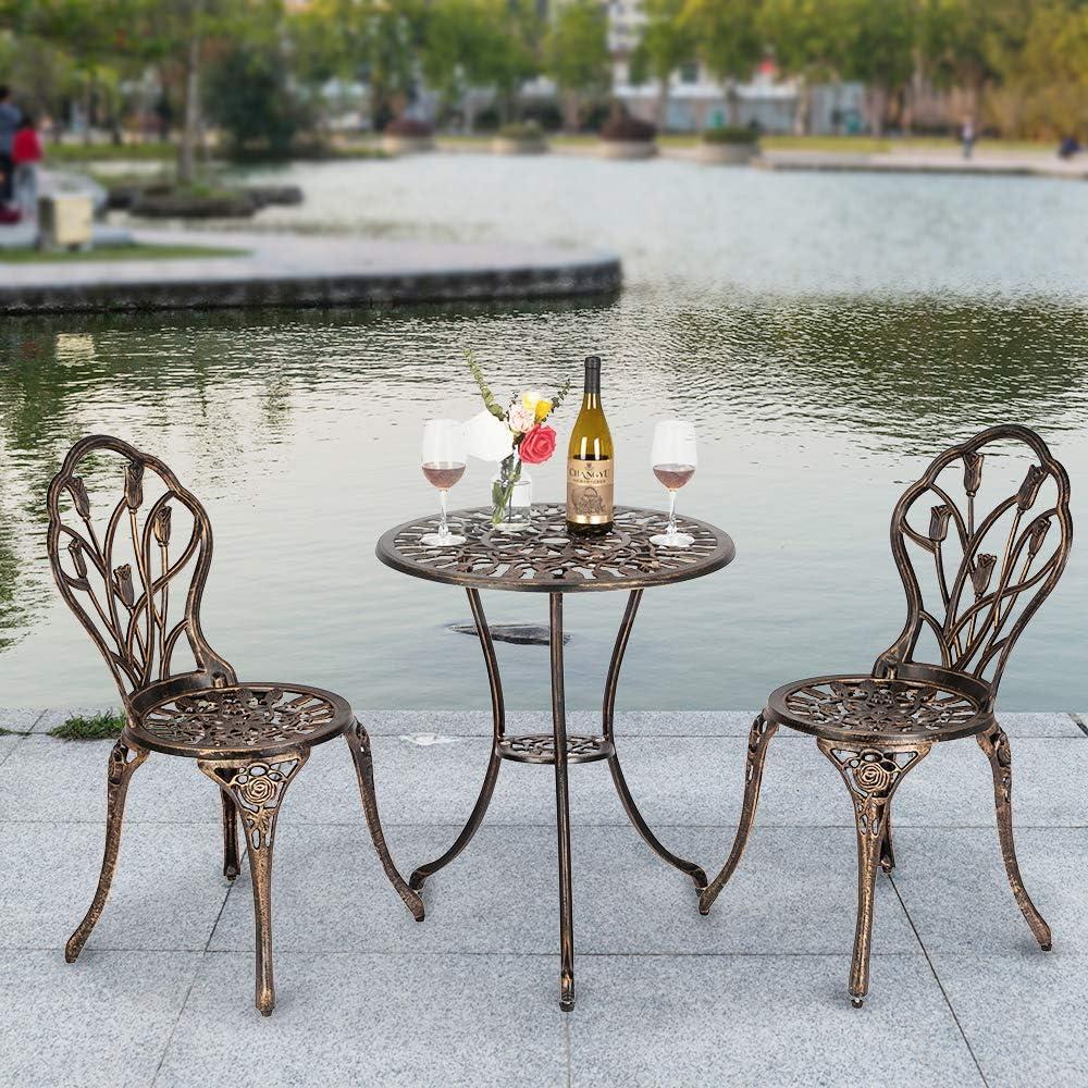 Bonnlo 3 Piece Bistro Set Cast Tulip Design Antique Outdoor Patio Furniture Weather Resistant Garden Aluminum Table and Chairs with Umbrella Hole