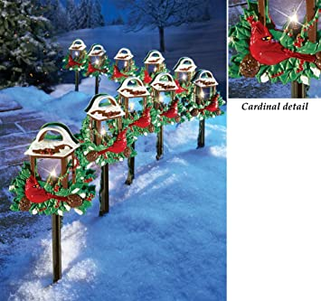 10 pc lighted christmas cardinal bird lantern walkway path stake holiday lawn decoration