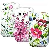 zkiosk 3 in 1 Hüllen Set Samsung Galaxy Young S5360 Design Auswahl 2 Schutzhülle Silikonhülle Handyhülle Case Tasche Schmetterlinge Blumen grün weiss schwarz