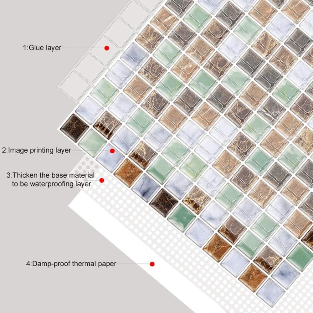Estilo Mosaico marr/ón Verde pelar y Pegar Vinilo Wallpaper Anti Molde ba/ño decoraci/ón de la Cocina 1 sq.ft//Piece 6 Unidades 3D autoadhesiva Etiqueta engomada del azulejo de la Pared