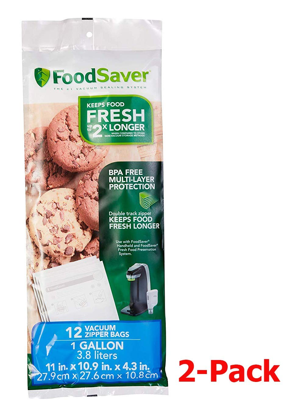 FoodSaver FSFRBZ0316-000 1-Gallon Vacuum Zipper Bags, 12 Count, Multi 2-Pack by FoodSaver