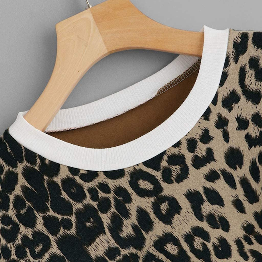 Asibeiul Women/'s Casual Leopard Print Sweaters Long Sleeve Patchwork T-Shirt Blouse Tops Fashion Sweatshirt Pullover Loose