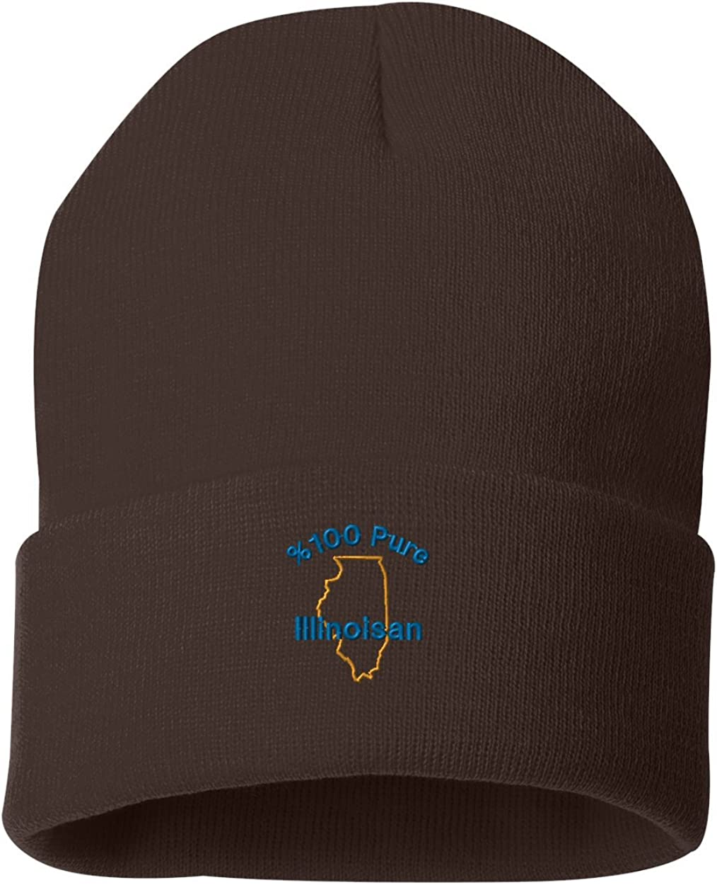/%100 Pure Illinoisan Custom Personalized Embroidery Embroidered Beanie
