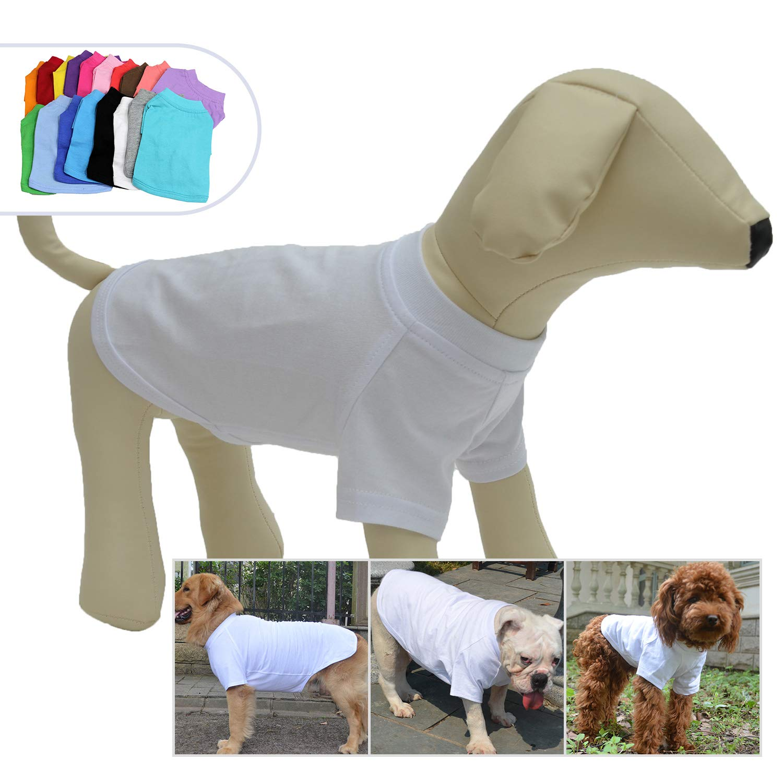 Lovelonglong 2019 Pet Clothing Dog Costumes Basic Blank T-Shirt Tee Shirts for Medium Dogs White XXL by Lovelonglong