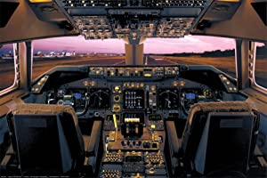 Boeing 747-400 Flight Deck Poster 36 x 24in