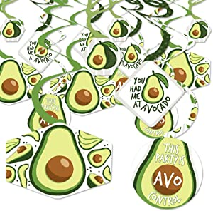 Big Dot of Happiness Hello Avocado - Fiesta Party Hanging Decor - Party Decoration Swirls - Set of 40