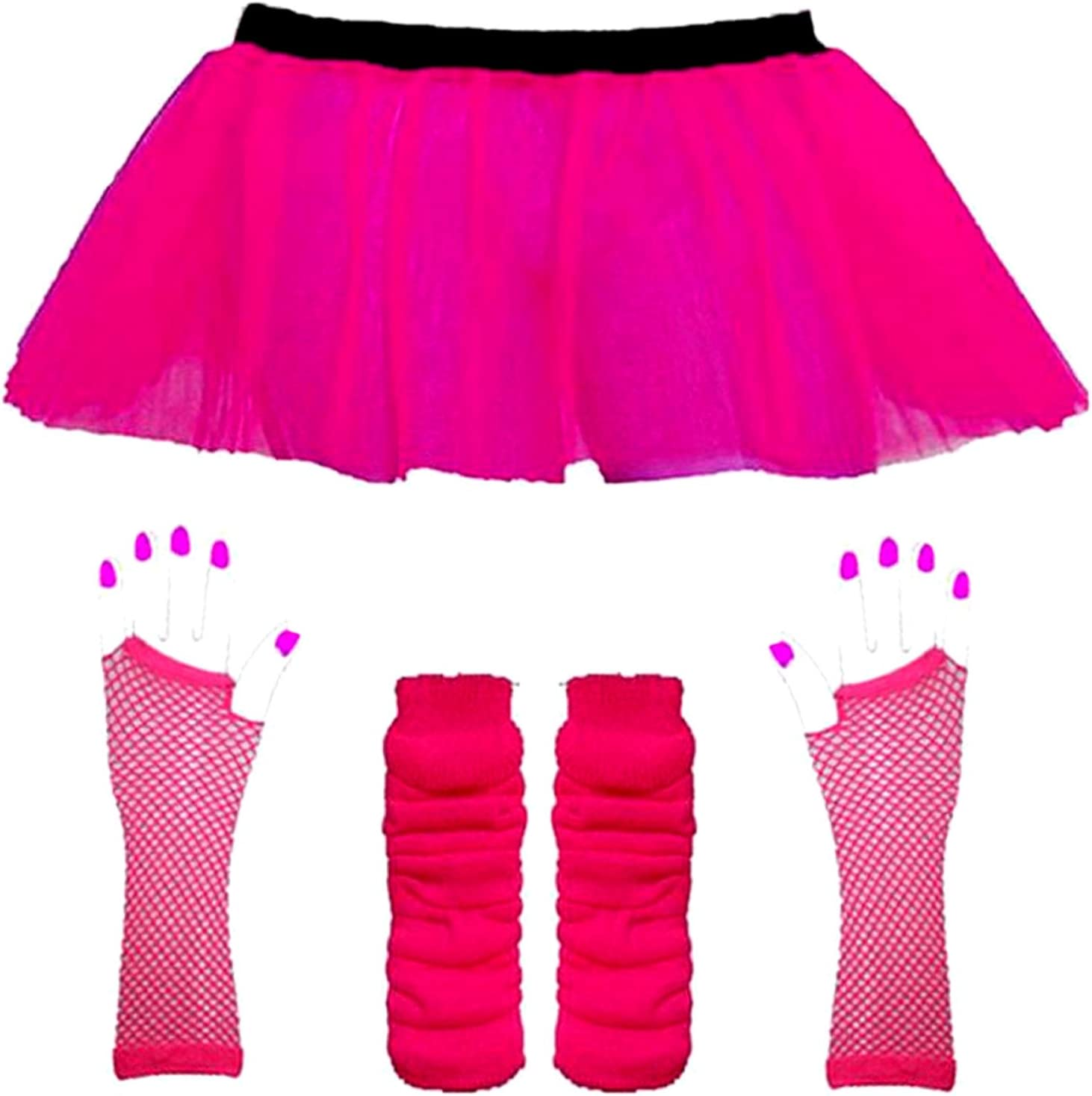 "Neon Tutu Skirt I love 80s Fancy Dress Hen Party fun run Rock n Roll 18/"" Length"