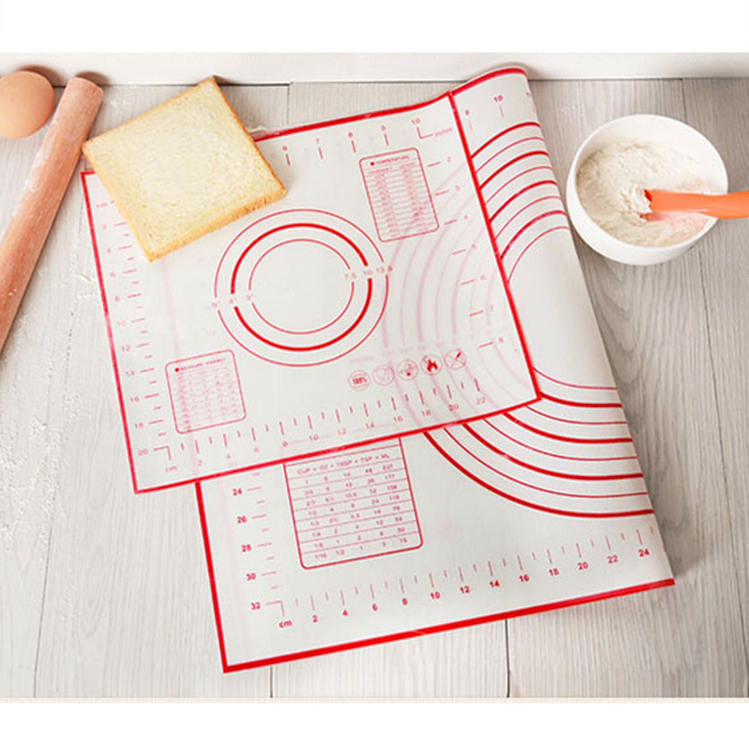 Non Stick Silicone Baking Mat 2 Pcs Set with Measurements High Temperature Resistance Pastry Mat FDA Approved by Lasten Lasten-US L123