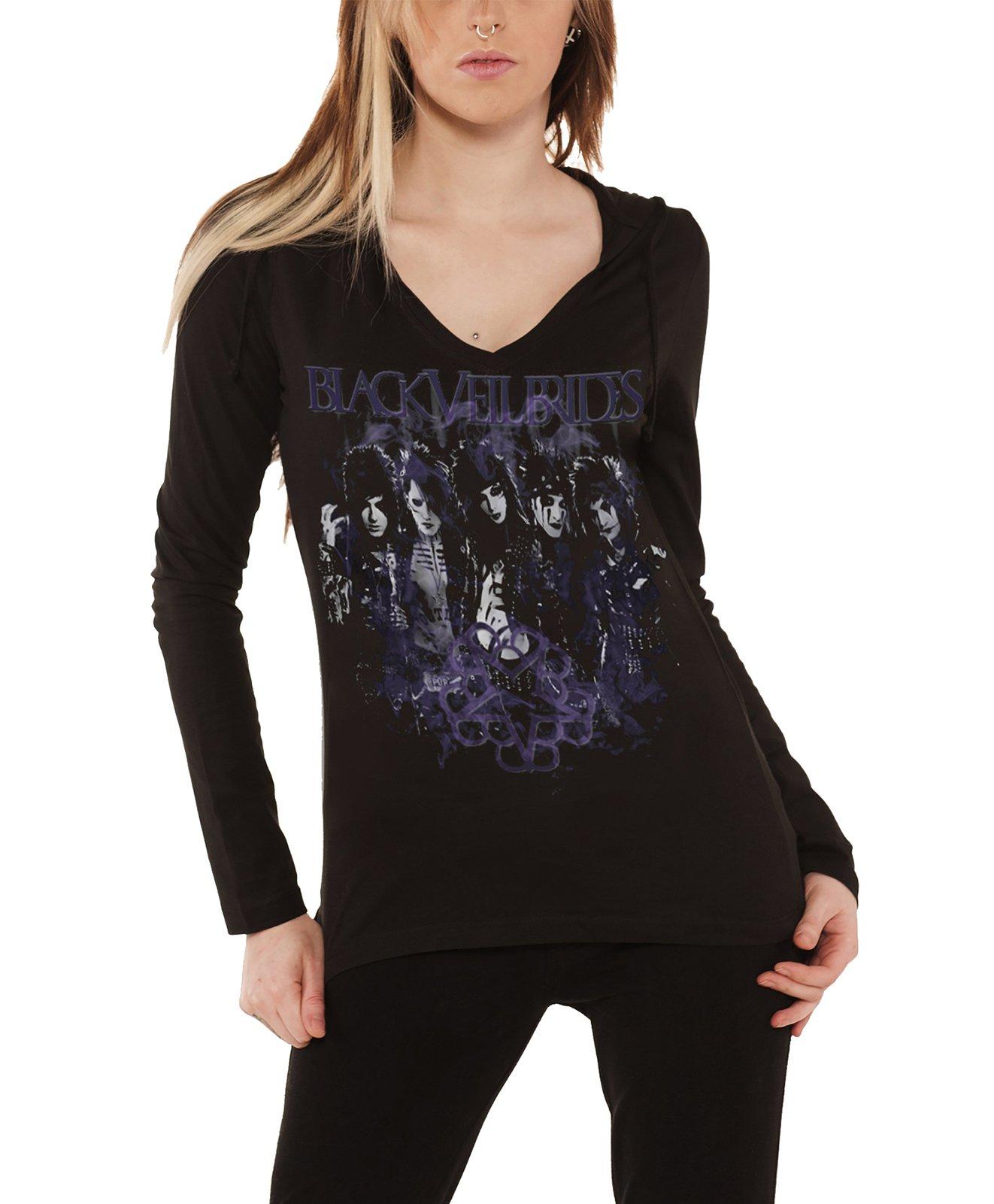 Black Veil Brides T Shirt Rise Band Logo Official Womens Hooded V Neck Top Size 12
