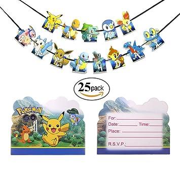 Amazon.com: Pokemon feliz cumpleaños Banner con 12 piezas ...