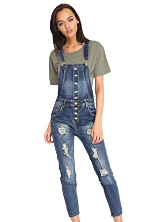 c4a848b2da shelikes New Womens Plain Distressed Slim Fit Faded Blue Denim Look  Dungarees  Amazon.co.uk  Clothing