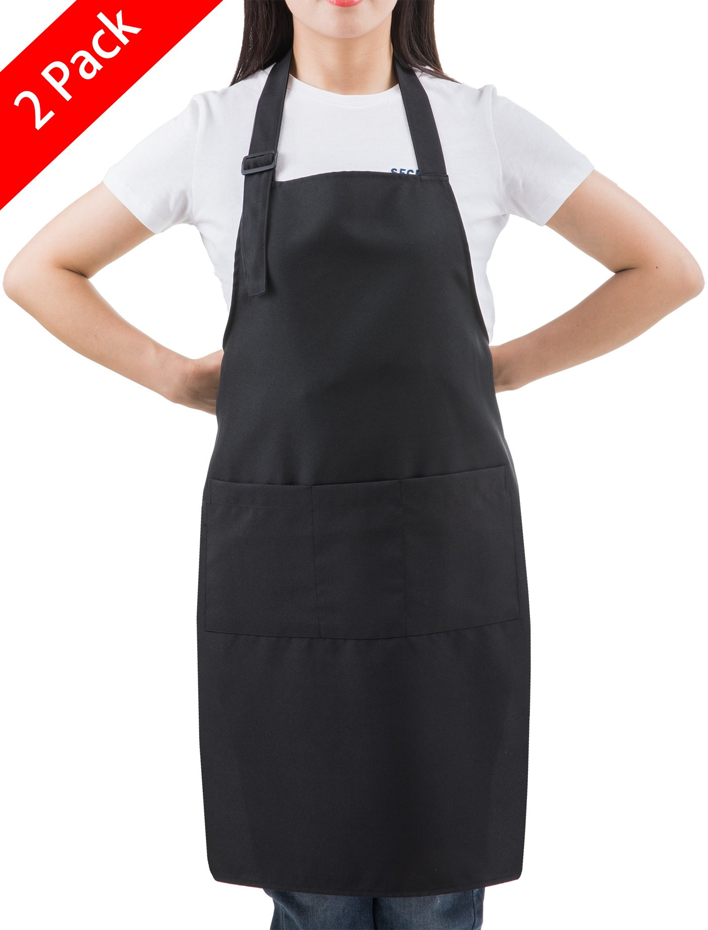 SEW UR LIFE (2 set Black Professional Resist Water Adjustable Plus Size Bib Apron 3 Pockets Home Kitchen Garden Restaurant Cafe Bar Pub Bakery for Cooking Chef Baker Servers Craft Unisex