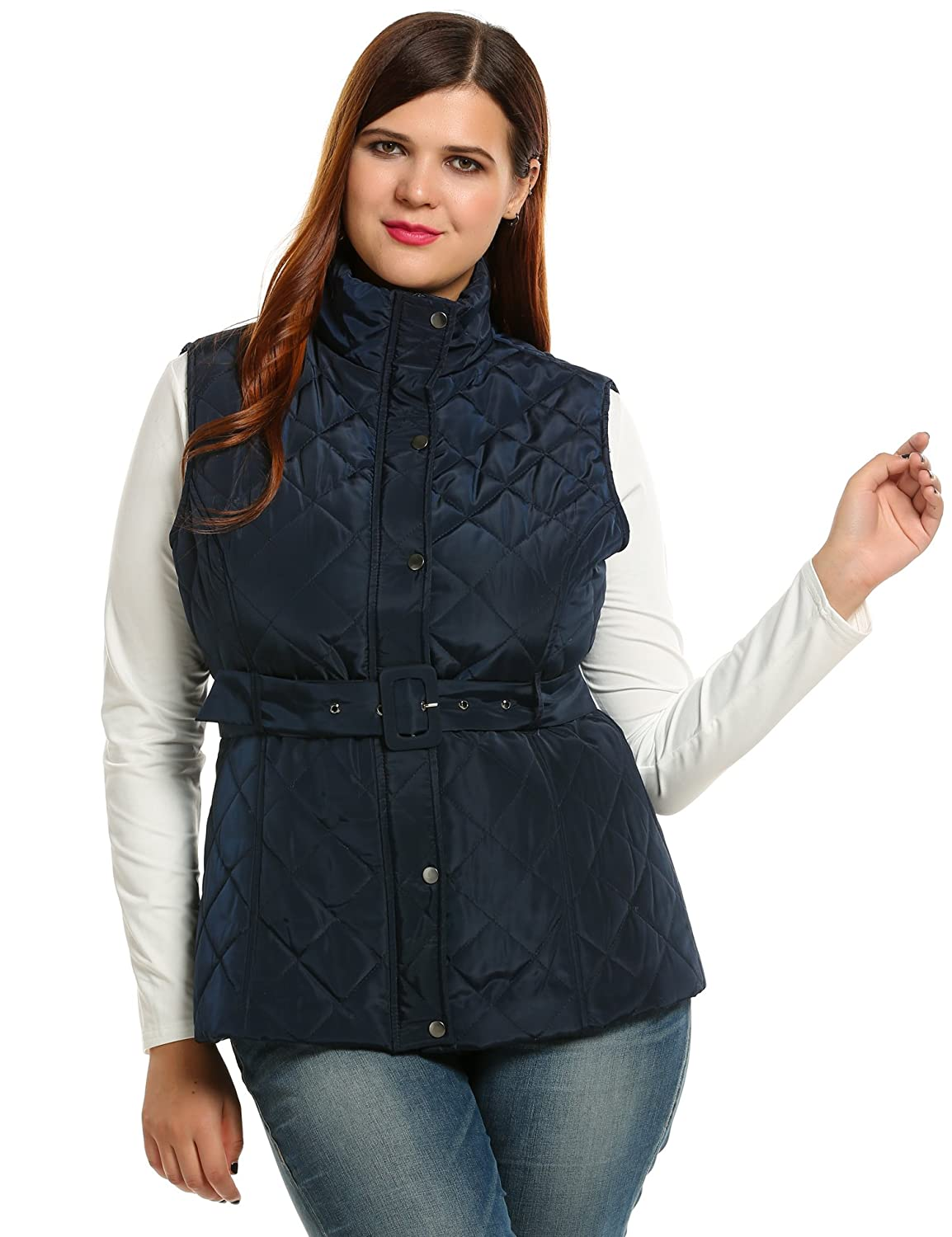 Meaneor Women's Plus Size Quilted Lightweight Vest Padding Jacket Stand Collar Coat