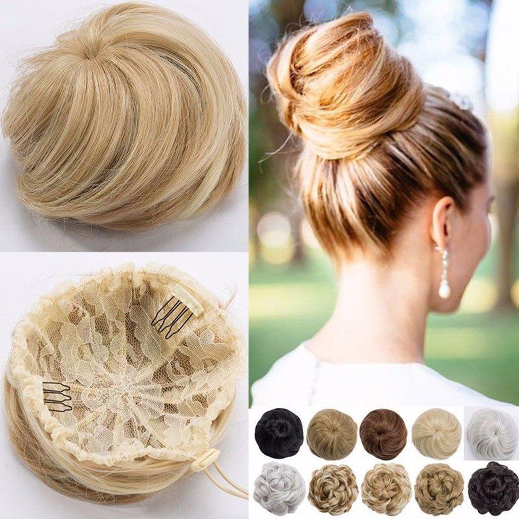 Elastico per capelli alla moda con voluminoso chignon incorporato di capelli lisci, mossi e scompigliati, biondo, marrone o nero Rich Choices