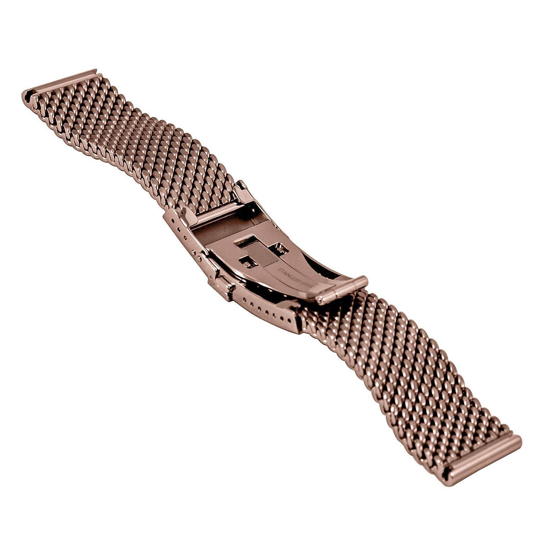 Staib klockarmband Milanaise/nät, hopfällbar, säkerhetsbygel, bredd 22 x 20 mm, sked. Längd och färger BRUN