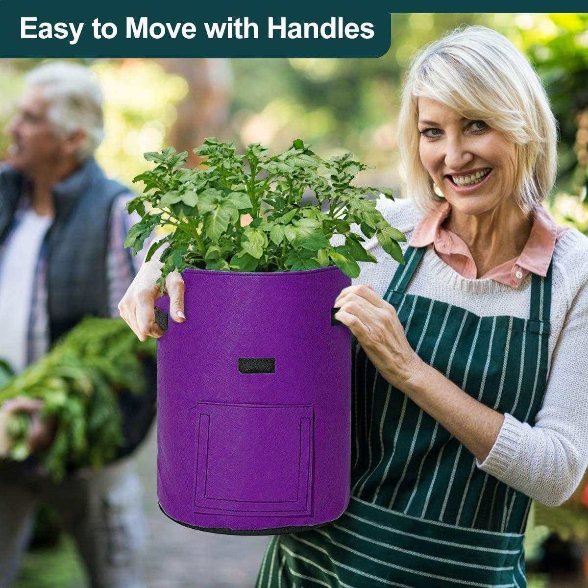VONLUXE Potato Grow Bags 3pcs 10 Gallon Potato Growing Bags Smart Potato Planting Bag Velcro Window Universal Grow Bags with Flap and Handles for Potato Carrot Purple Tomato
