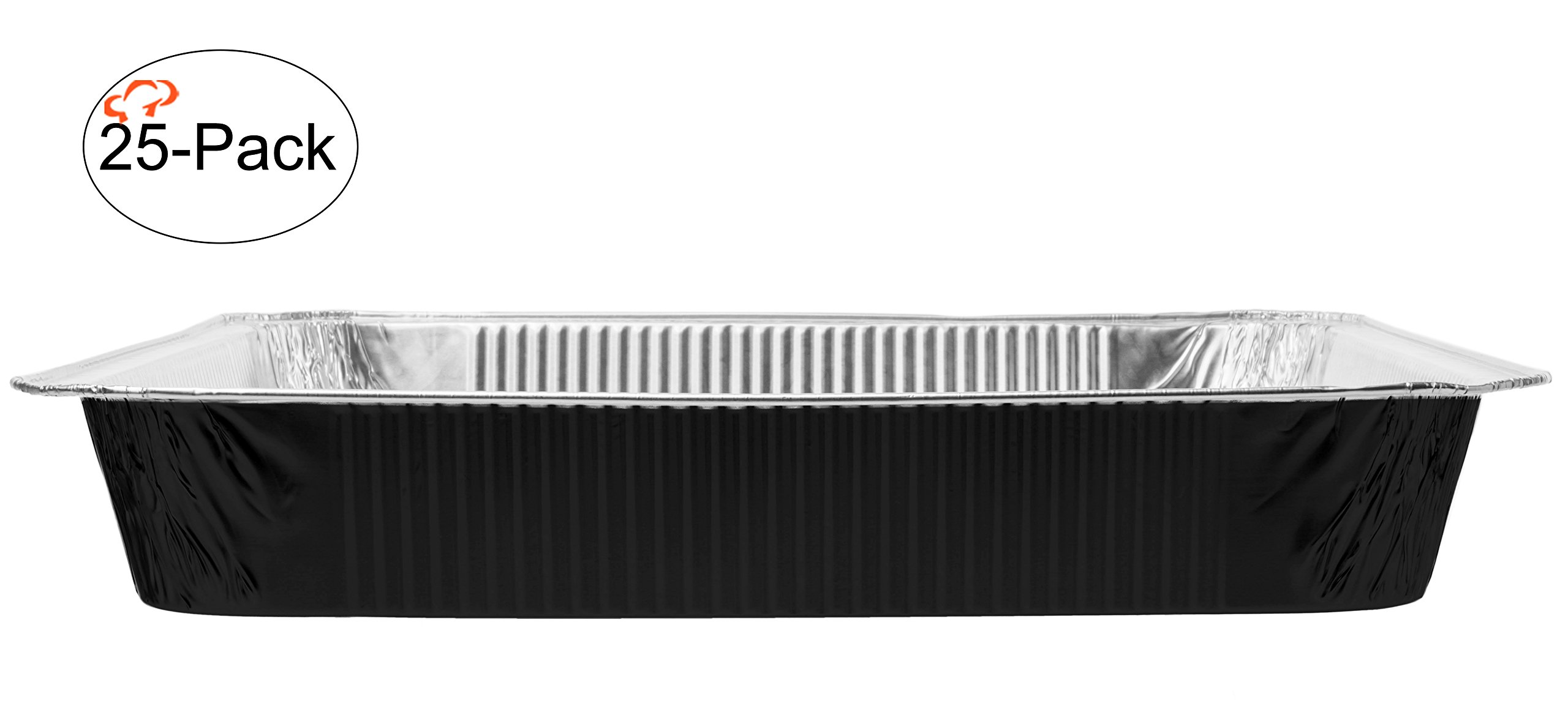 Tiger Chef Chafing Pans 25-Pack Black Disposable Aluminum Foil Steam Table Deep Baking Pans, Full Size - 19 5/8in x 11 5/8in x 2 3/16 inches