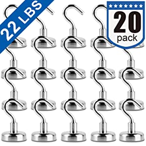 Heavy Duty Magnetic Hooks, Strong Neodymium Magnet Hook for Home, Kitchen, Workplace, Office and Garage, Pack of 20