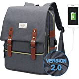 Modoker Vintage Laptop Backpack for Women Men,School College Backpack with USB Charging Port Fashion Backpack Fits 15 inch Notebook (Grey-Function Update)
