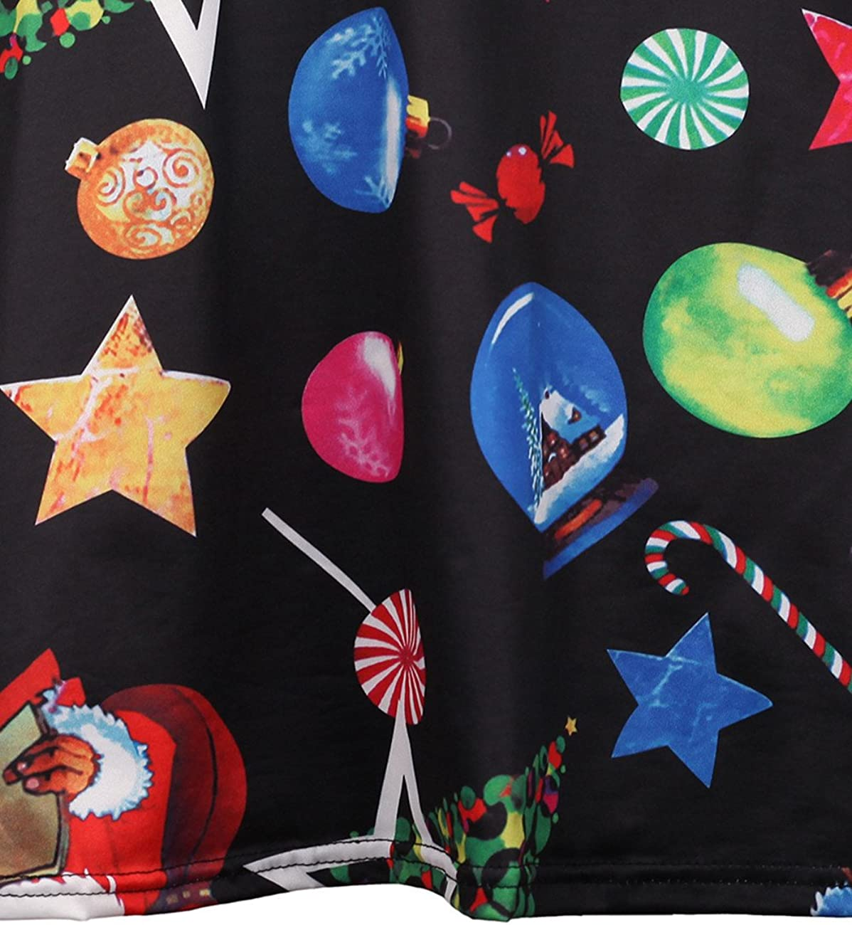 RUIYIGE Women Print Swing Dress Christmas Long Sleeve Flared Party Brillant Dresses