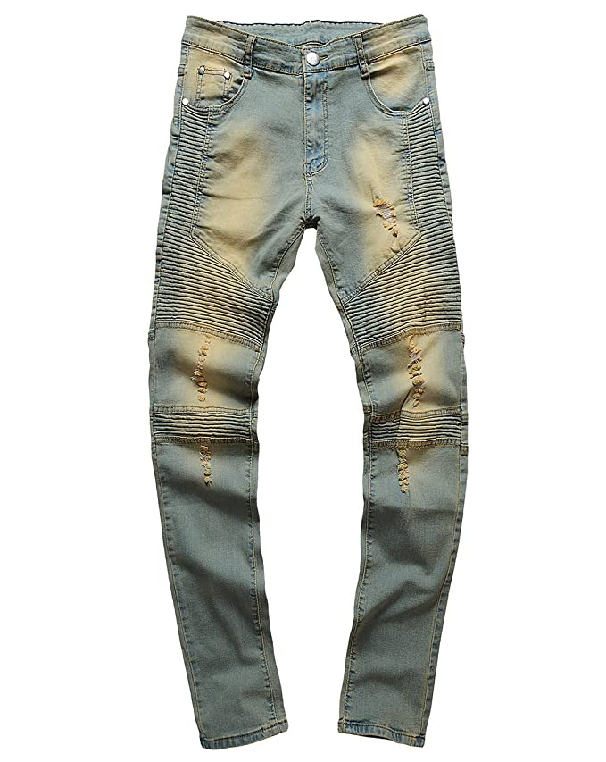 540ba3d91222 XARAZA Men s Distressed Ripped Slim Fit Jeans Skinny Denim Moto Biker  Pencil Pants at Amazon Men s Clothing store