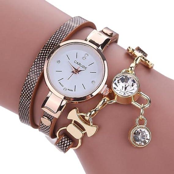 baonoop reloj mujer redonda Faux de piel Para Mujer Moda Brillantes analógica cuarzo Dress relojes: Amazon.es: Relojes