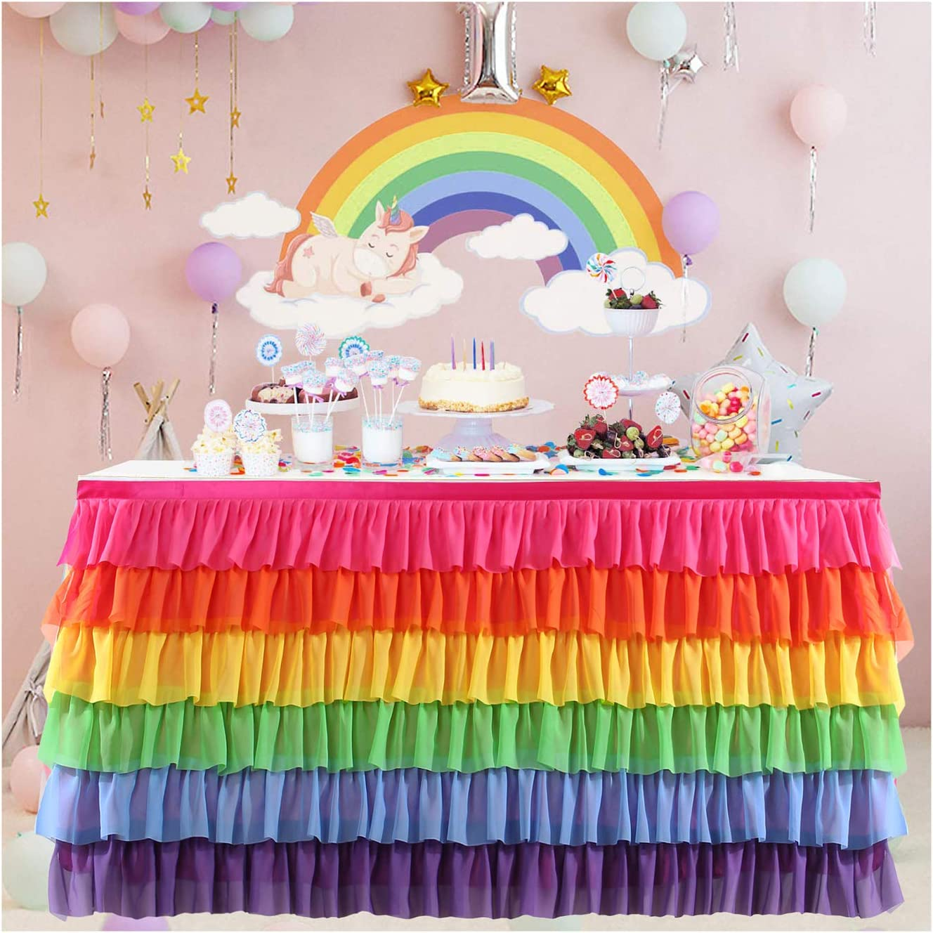 Rainbow Tutu Table Skirt 6ft 9ft 14ft Mermaid Party Baby Chiffon Table Cloth for Rectangle Round Table (Bright Rainbow, L9ft × H30in)