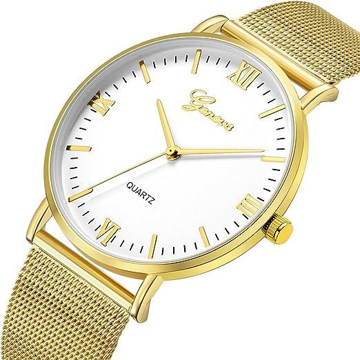 Relojes Mujer,❤LMMVP❤Ginebra clásico caliente de lujo mujeres de acero inoxidable analógico cuarzo analógico reloj de pulsera (A): Amazon.es: Relojes