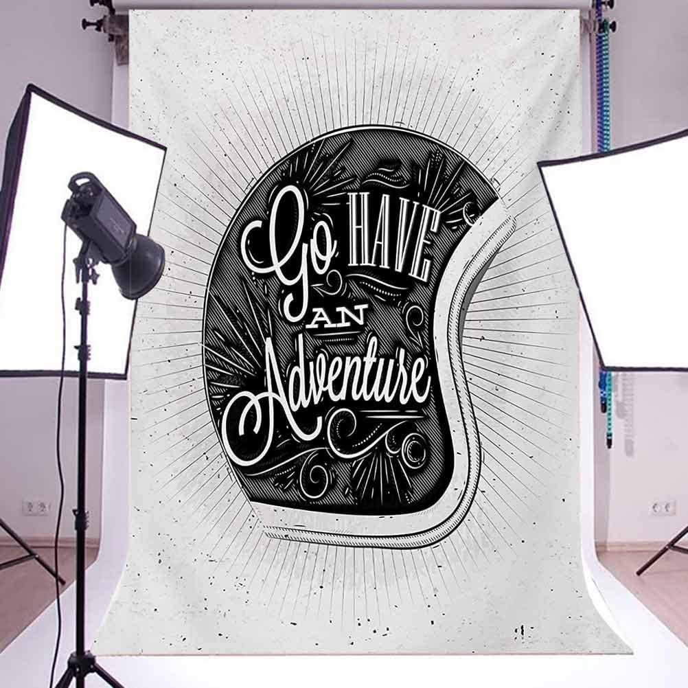 Motorcycle Figure with Adventure Quote Ornate Lines Contemporary New Graphic Design Background for Photography Kids Adult Photo Booth Video Shoot Vinyl Studio Props 10x12 FT Photography Backdrop
