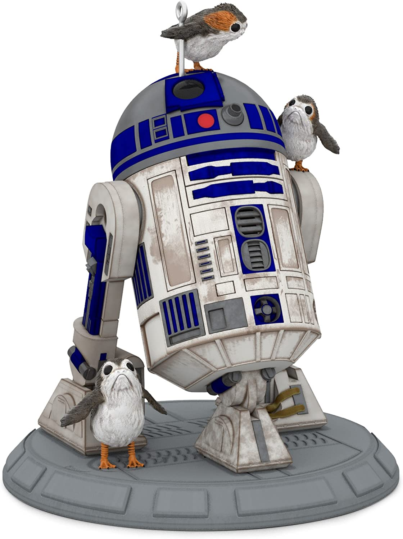 Hallmark Keepsake Christmas Ornament 2018 Year Dated, Star Wars R2D2 Porgs of a Feather, The Last Jedi