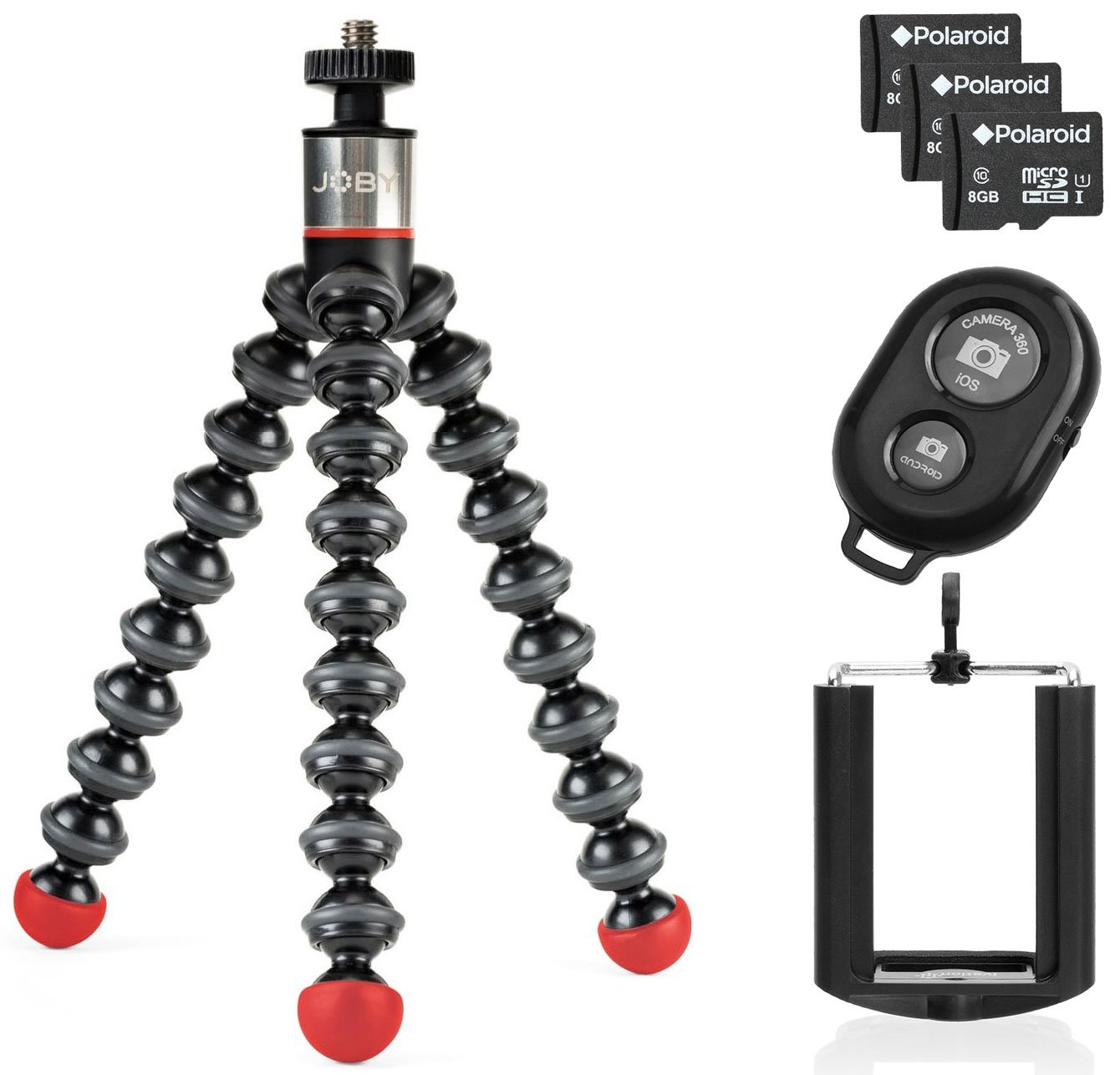Joby GorillaPod Magnetic Tripod with Wireless Bluetooth Camera Shutter Remote Control for Apple and Android Phones and Universal Tripod Mount for Smartphones w/ 3 8GB Micro SDHC Class 10 Memory Cards